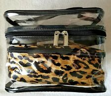 CHICO'S 2 Cosmetic Toiletry Jewelry Travel Bag Pouch (Clear & Animal Print) NEW