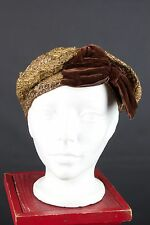 VTG 1920s Gold Woven Cloche Hat  #1181 20s Flapper Art Deco