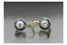 Certified 1.50CT Round Diamond Vintage Lever Back Earrings For Woman's 14K Gold