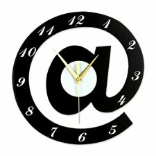 "Unique Design Black ""@"" Shape Wooden Wall Clock Non-ticking Silent Movement Cloc"