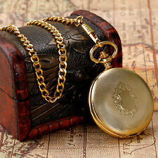Vintage Gold Shield Roman Numerals Automatic Mechanical Pocket Watch Chain Gift