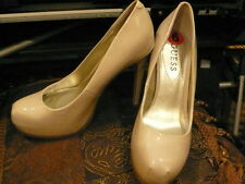 GUESS NUDE /BEIGE PATENT PUMP HEELS WITH BUILT IN PLATFORM, SIZE 6 NEW