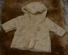 Ladybird girls babies faux suede fleece lined hooded coat age 3/6 months