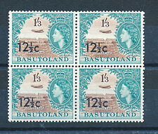 BASUTOLAND 1961 DEFINITIVES SG65a 12½c on 1s.3d. OVERPRINTED BLOCK OF 4 MNH