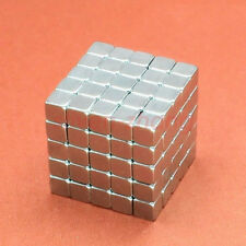 100pcs 4x4x4mm Super Strong Block Neodymium NdFeB Rare Earth Fridge Magnet N35