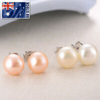 925 Sterling Silver 8MM Classic Genuine Freshwater Pearl Stud Earrings
