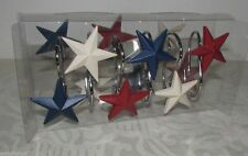 Primitive Patriotic Red White & Blue Star Americana Shower Curtain Hooks 12 pk