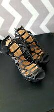 Black Platform Wedge Strappy Sandal