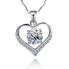 Womens Sterling Silver Heart White Crystal Pendant Necklace Chain Jewelry Box 18
