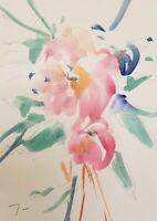 JOSE TRUJILLO - ORIGINAL Watercolor Painting MODERN Fauvist 9X12 Flowers PINK
