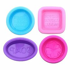 4 pack Square Round Oval Soap Molds Food-grade Silicone Baking Mold