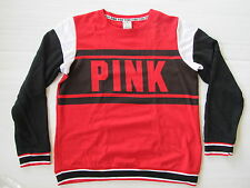 Victoria's Secret PINK Colorblock Perfect Crew Pullover Red Black Medium