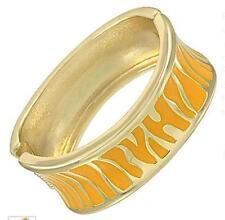 Yellow Gold Bangle Bracelet Zebra Animal Print Enamel Metal Hinged Women Fashion