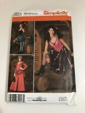 Simplicity 2851 Costume 6-12 Pattern Wild West Saloon Girl Madame 1800's Uncut