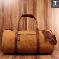 LECONI Reisetasche Damen Herren Weekender Canvas Leder Used Look cognac LE2004-C