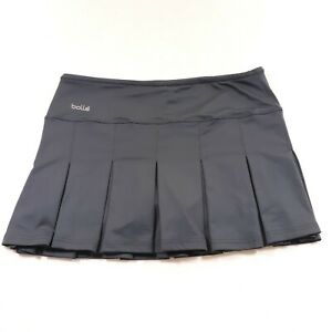Bolle Athletic Tennis Skirt Skort Womens Size L Gray Pleated Lined W 32 L 14