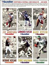 1992 NFL GAMEDAY Promo Uncut Sheet 6 LARGE GLOSSY CARDS Montana, Taylor, Kosar