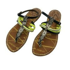 Sam & Libby 7.5 Sandals Flat Thong Black and Yellow w/ Ankle Strap