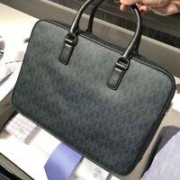Michael Kors Men's Jet Set Signature Logo Baltic Blue Large Briefcase Bag $398