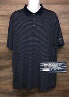 NIKE GOLF Tour Performance Men's Blue Striped Short Sleeve Golf Polo Shirt 2XL