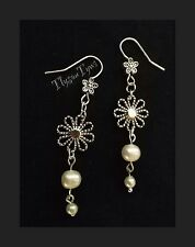 Freshwater Pearl Flower Earrings....Silver And Ivory.....Silver Plated