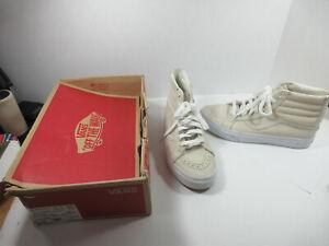 VANS Sk8 Hi Reissue Zip Premium Leather Tan White shoes sneakers men 8 women 9.5
