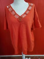 Coldwater Creek Women's Plus 3X Orange Knit Top