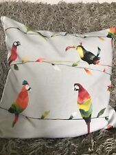Toucan, parrot, bird cushion cover, cotton with grey velvet envelope back