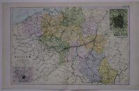 1910 ORIGINAL MAP BELGIUM & LUXEMBURG BRUSSELS ANTWERP FLANDERS BRABANT