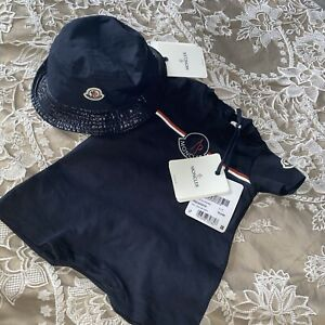 Baby Moncler Bucket Hat And Romper Set 6-9 Months