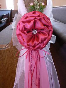 Fuchsia Hot Pink  Chair Bows, Pew Bows,  White, Church Aisle decor, Arch decor