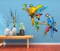 3D Zwei Blaue Papageien 4 Tapeten Wandbilder Fußboden Wand-Druck Wandaufkleber