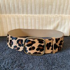 2.5 Wide High Waist Animal Print Belt Leopard to Solid Tan S//M