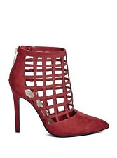 Guess Women's Daleney Caged Heels In Red Faux Suede Size 8