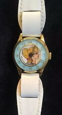 Vintage Barbie White Girls Wristwatch Blue Face Watch