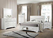 New Modern White and Silver Bedroom Furniture - 5pcs King Storage Bed Set Ia7U