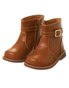 GYMBOREE MOD ABOUT ORANGE BROWN BUCKLE BOOTIES 7 10 NWT