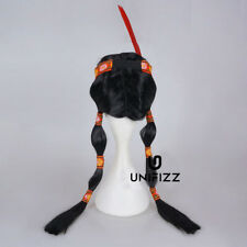 Women Black Cosplay Feather Costume Princess Braids Wig Indian Party Wig