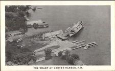 Center Harbor NH Wharf Aerial View Postcard