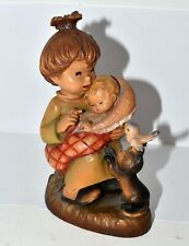 """Anri Carved Wood Figurine Young Mother with Baby Bird & Kitten Cat 6"""""""