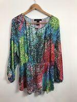 Ashley Stewart Women's Rainbow Long Sleeve Blouse Top Plus Size 18/20