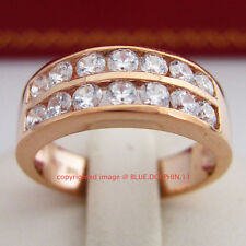 Genuine Real Solid 9k Rose Gold Engagement Wedding Band Ring Simulated Diamonds
