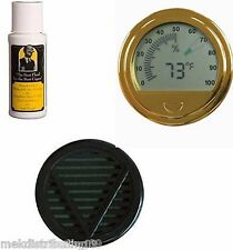 Cigar Caddy 2oz Humidor Seasoning kit Large Gold Digital Hygrometer Humidifier