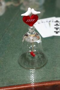 1988 Valentine You And Me Babe Love Birds Crystal White And Red Hearts Bell