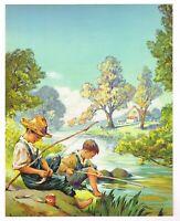 ORIGINAL VINTAGE CALENDAR PRINT 1940S LITHOGRAPH FISHING NOS ROD & REEL FISH