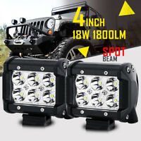 2PCS 4INCH 18W CREE LED WORK LIGHT BAR DRIVING SPOT BEAM SUV ATV FOR JEEP TRUCK