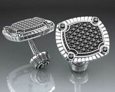Black Round Beautiful Cuff Links For Men's Jewelry 14k White Gold Cz Love Gift
