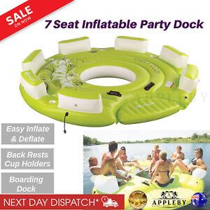 Inflatable Floating Island Dock Raft Ring Water Platform Pier Lounge Terrace
