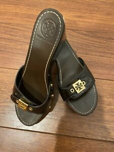 TORY BURCH Brown Patent Leather Platform Wedge Sandals size 7.5  $19.99