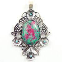Retro Tibetan silver inlay Ruby in Fuchsite & Turquoise Pendant Bead NN108